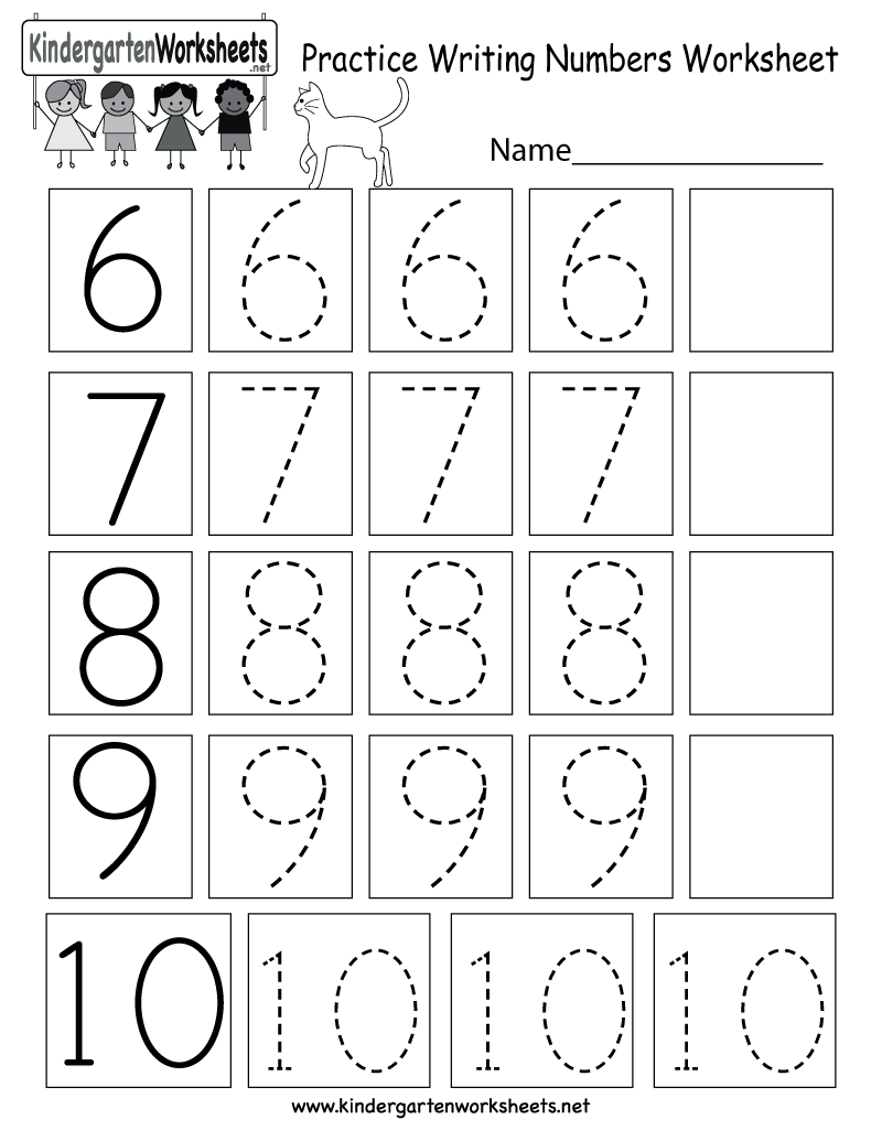 Kindergarten Practice Writing Numbers Worksheet Printable | Crianã§as