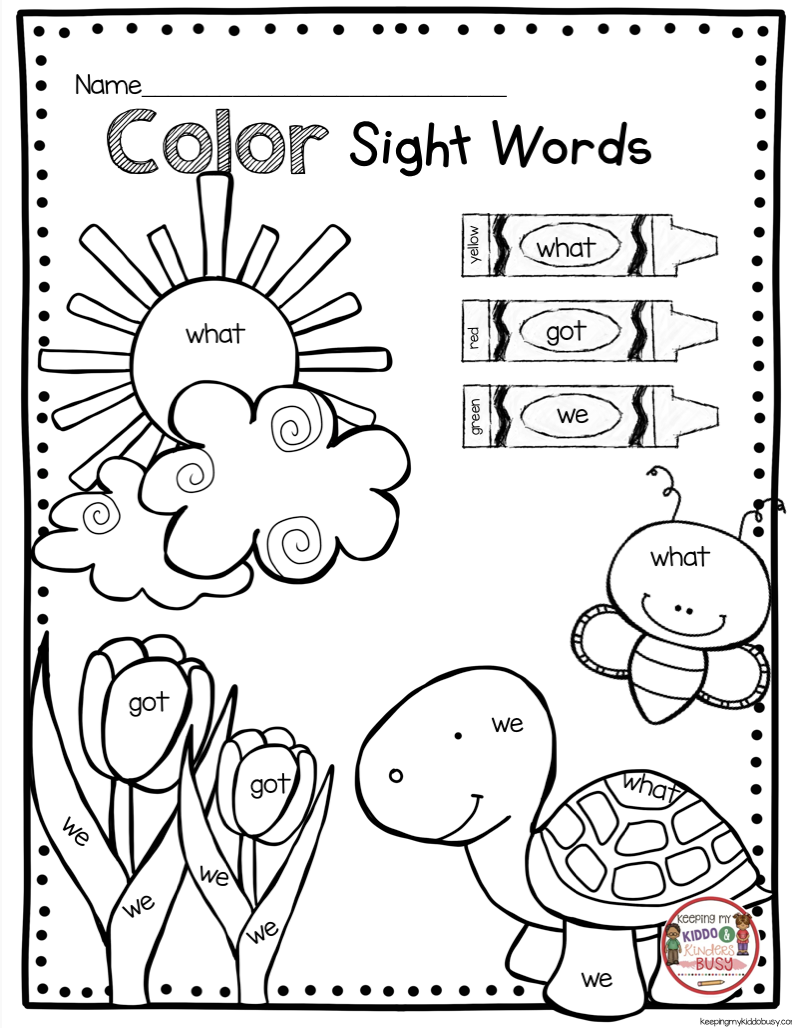 May In Kindergarten - Freebies | Color By Sight Words | Sight Word