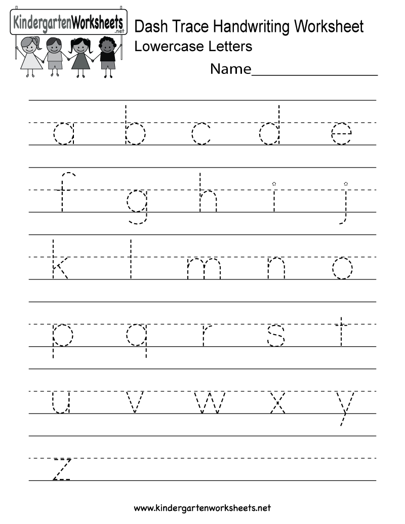 Kindergarten Dash Trace Handwriting Worksheet Printable | There Is A