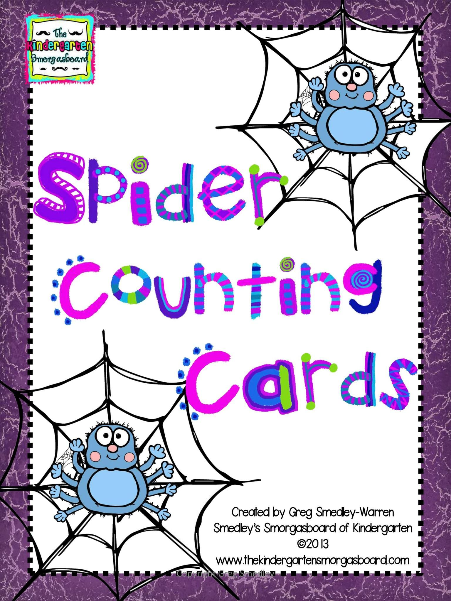 Spider Web Counting Cards | Halloween Math | Kindergarten