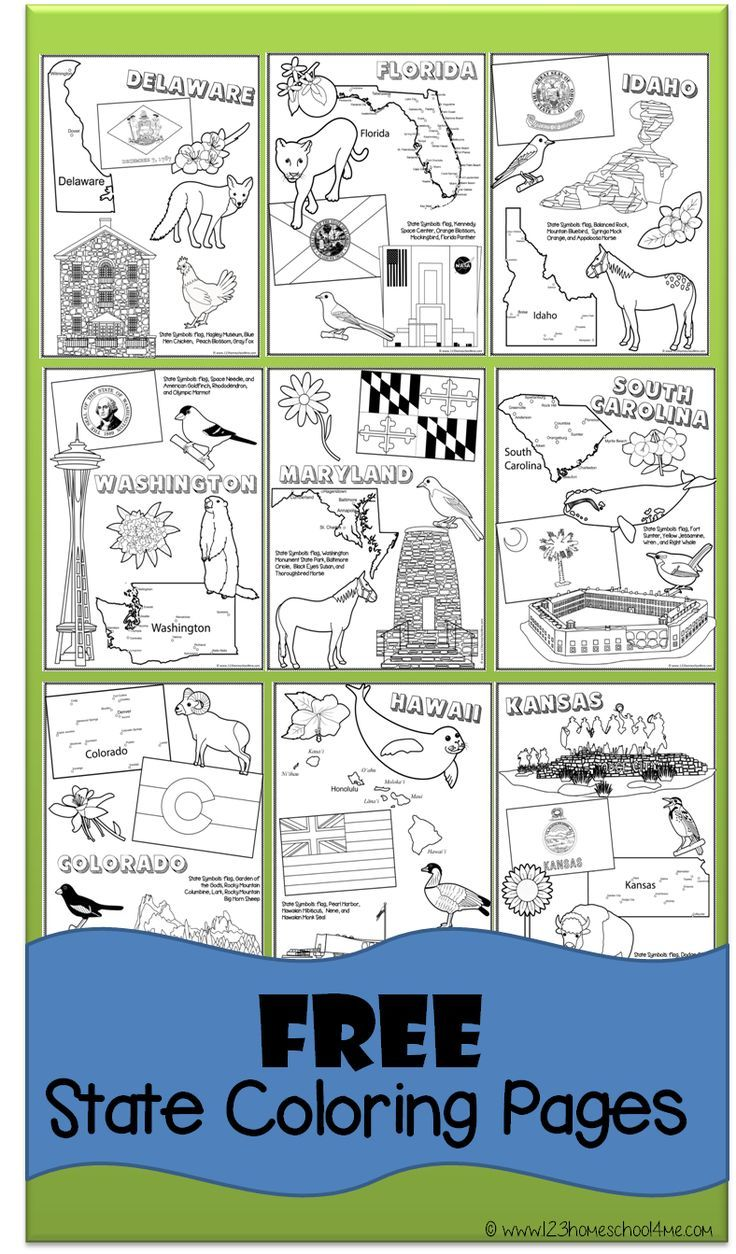 Free State Coloring Pages   Homeschool Printables   Kindergarten