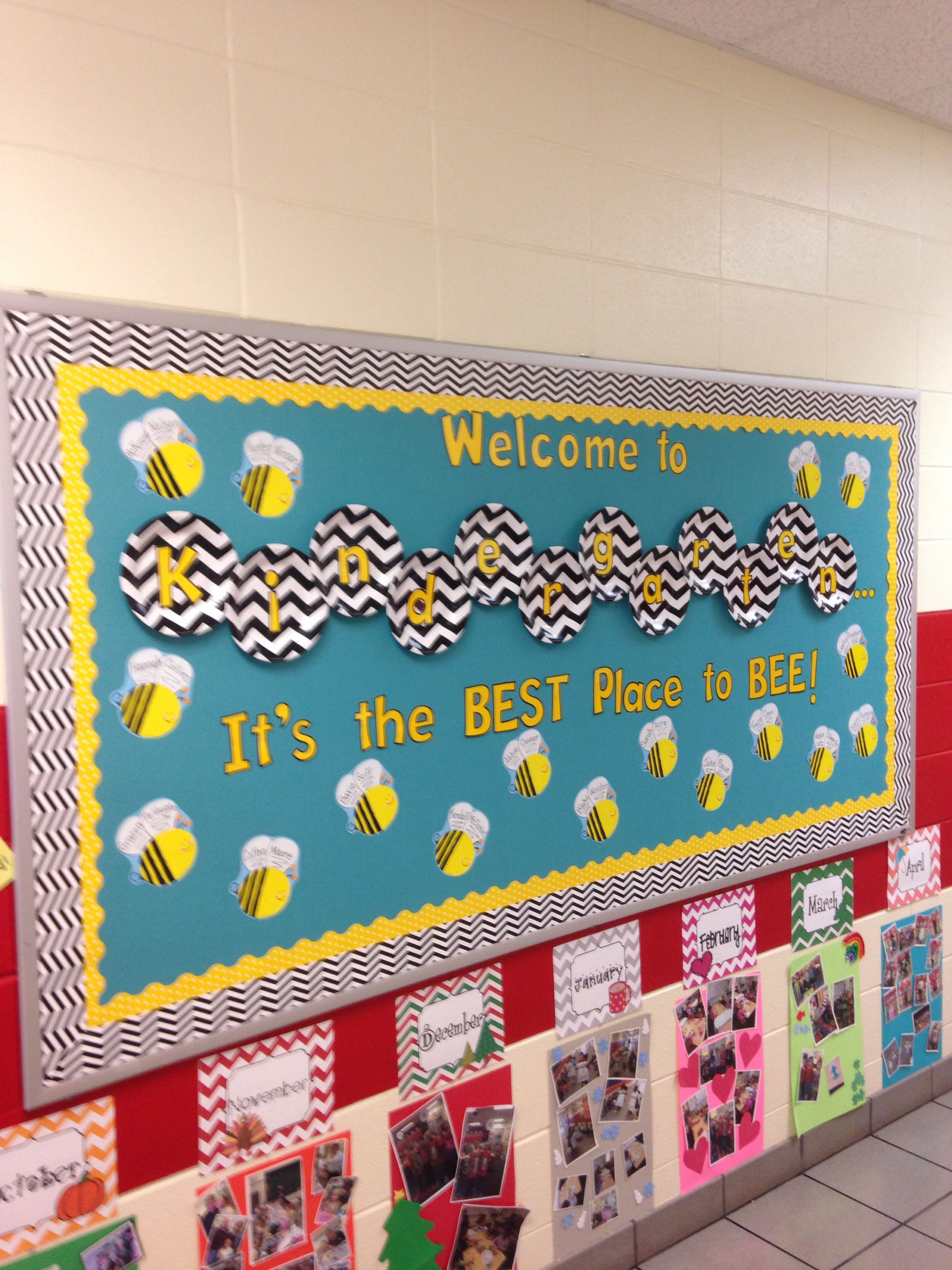Back To School Kindergarten Bee Bulletin Board- Chevron Paper Plates