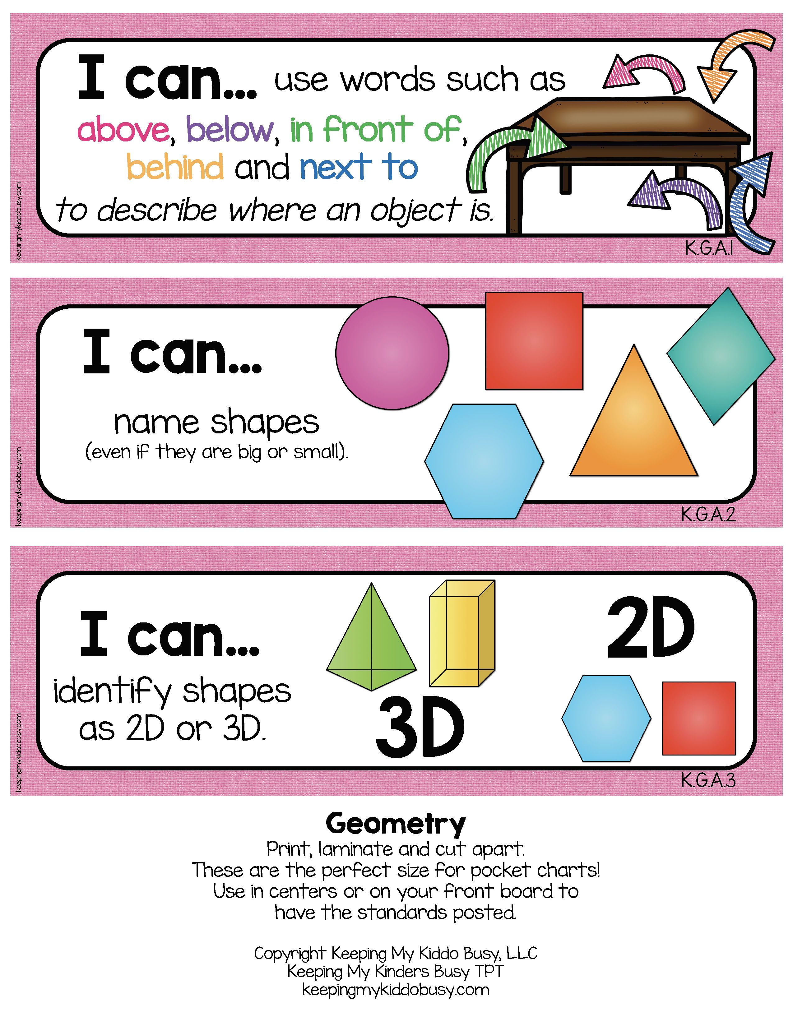 Kindergarten Standards - I Can Statements - Freebies | Preschool