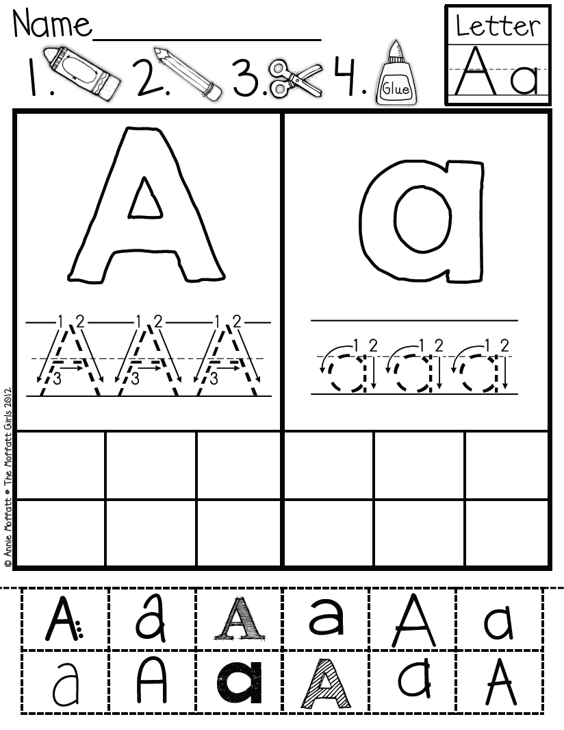 Abc Cut And Paste Fonts | Classroom | Kindergarten Writing
