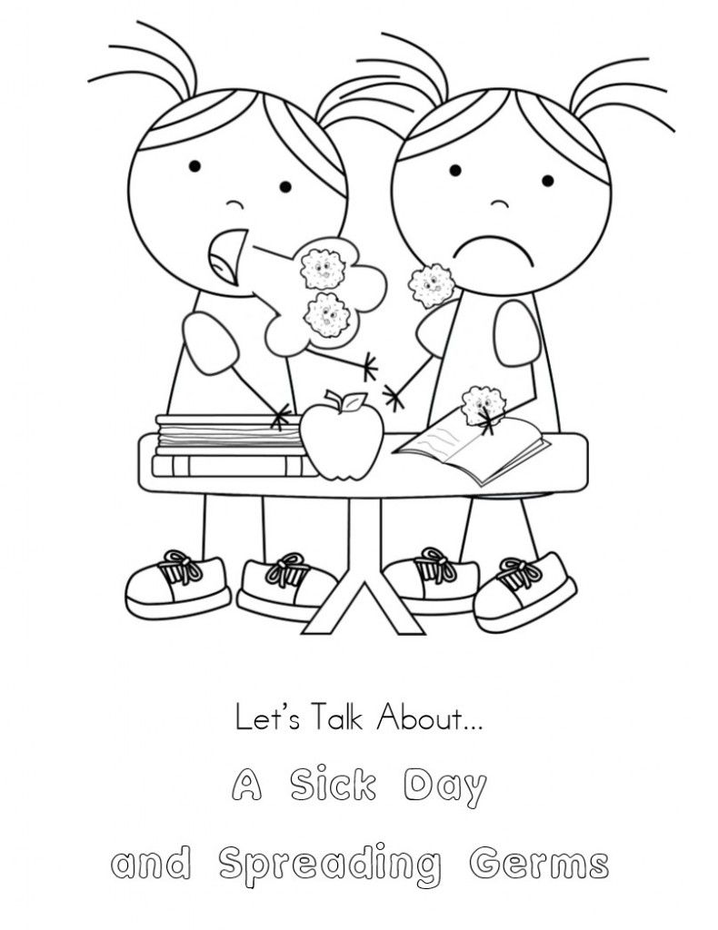 No More Spreading Germs Coloring Pages For Kids | Kindergarten