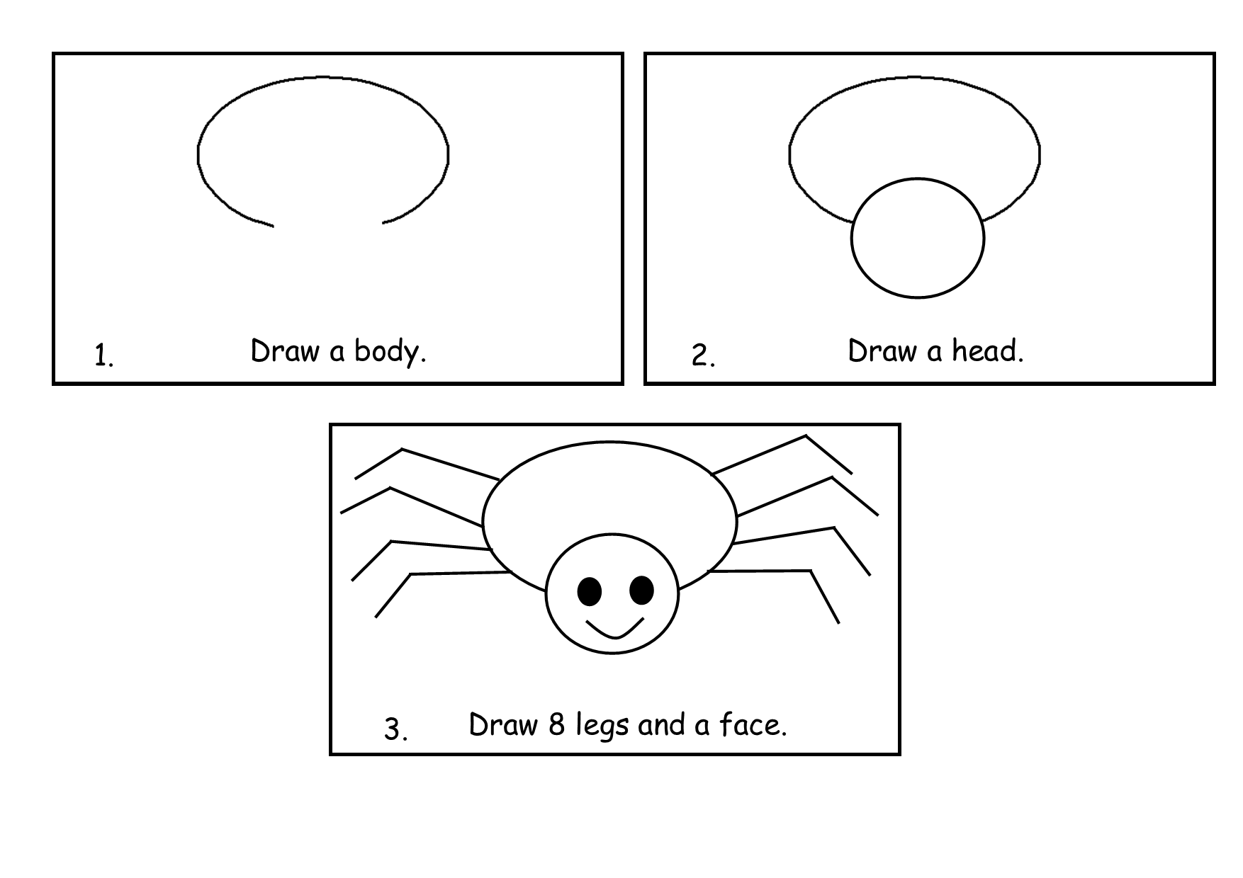 Step By Step Spider Drawing | Minibeast Craft | Kindergarten Drawing