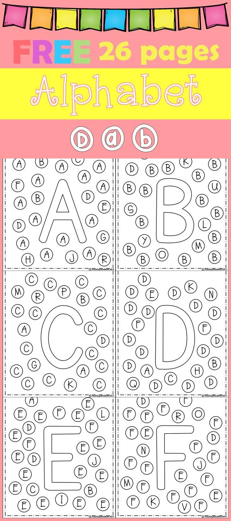 Free Freebies Alphabet Dap A-z 26 Pages For Prek And Kindergarten