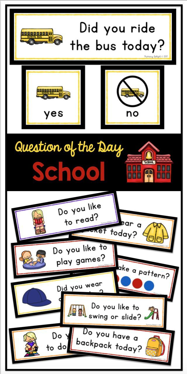 Back To School Questions Of The Day For Preschool, Kindergarten And