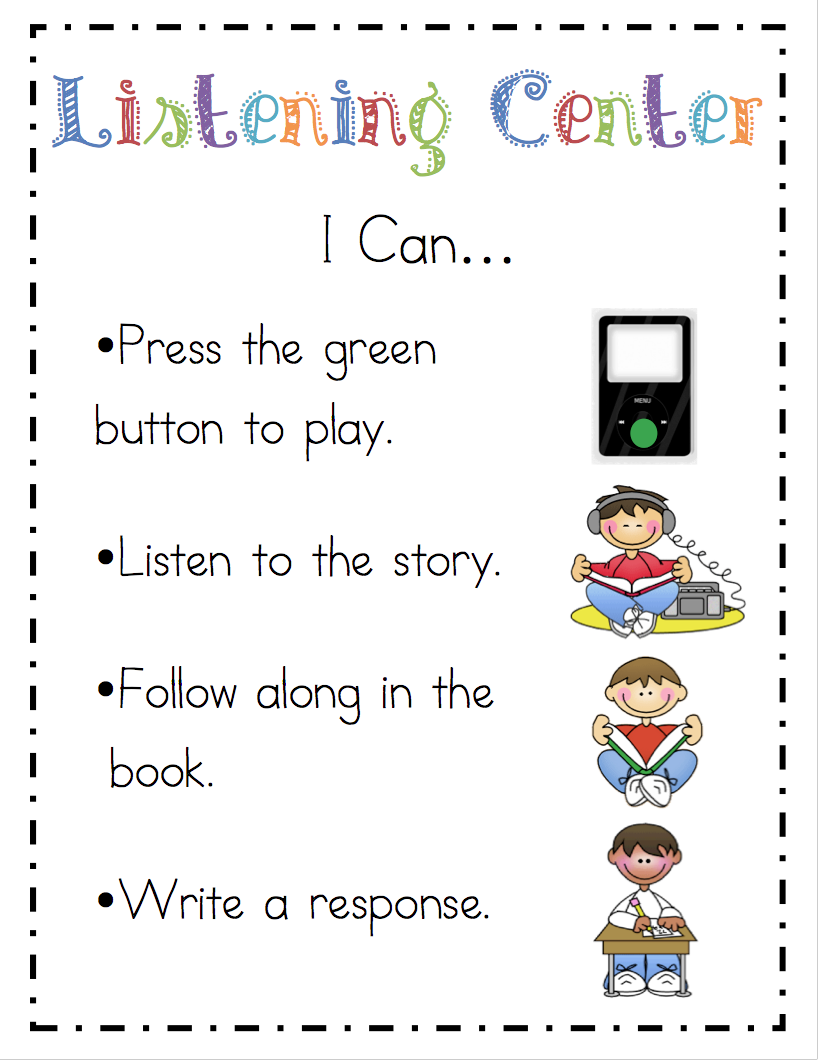 """Precious """"i Can"""" Center Signs From Mrs Ricca's Kindergarten Blog"""