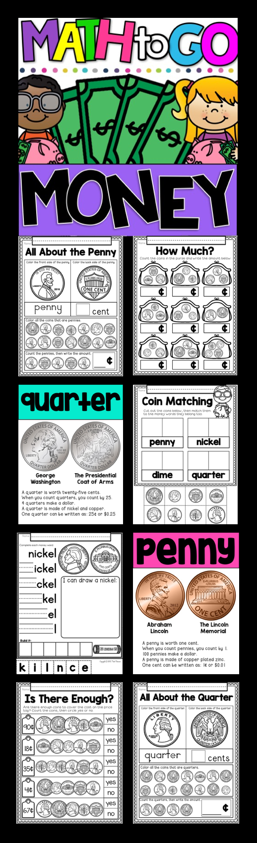 Money! A No Prep Math Printables Package For Kindergarten And First