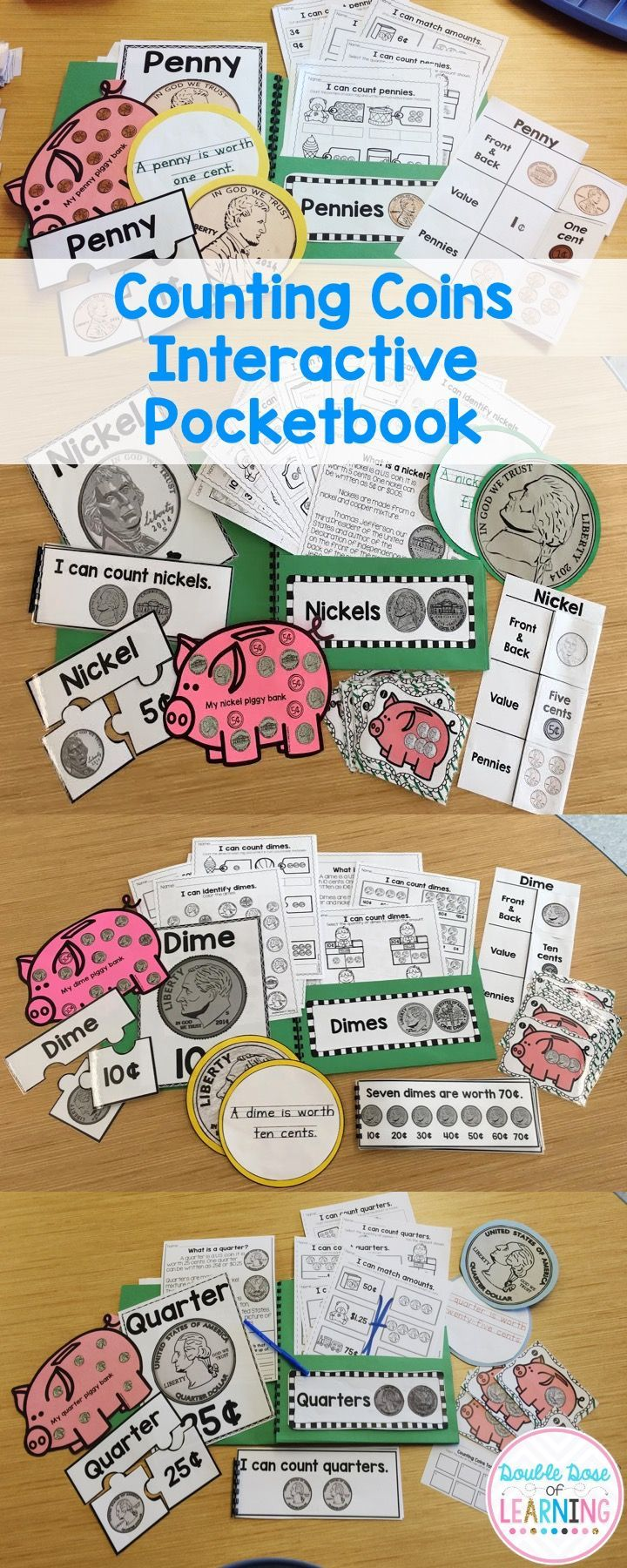 Counting Coins Interactive Pocketbook Unit For Kindergarten And