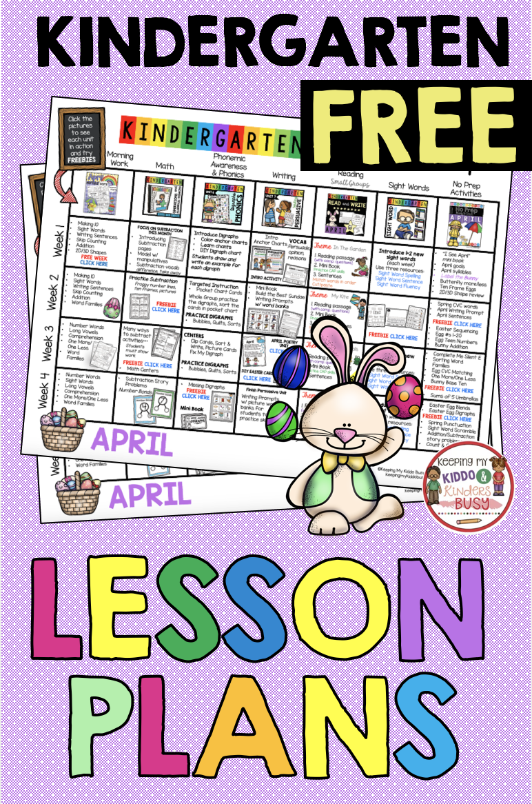 Kindergarten Lesson Plans For April - Easter Activities - Free