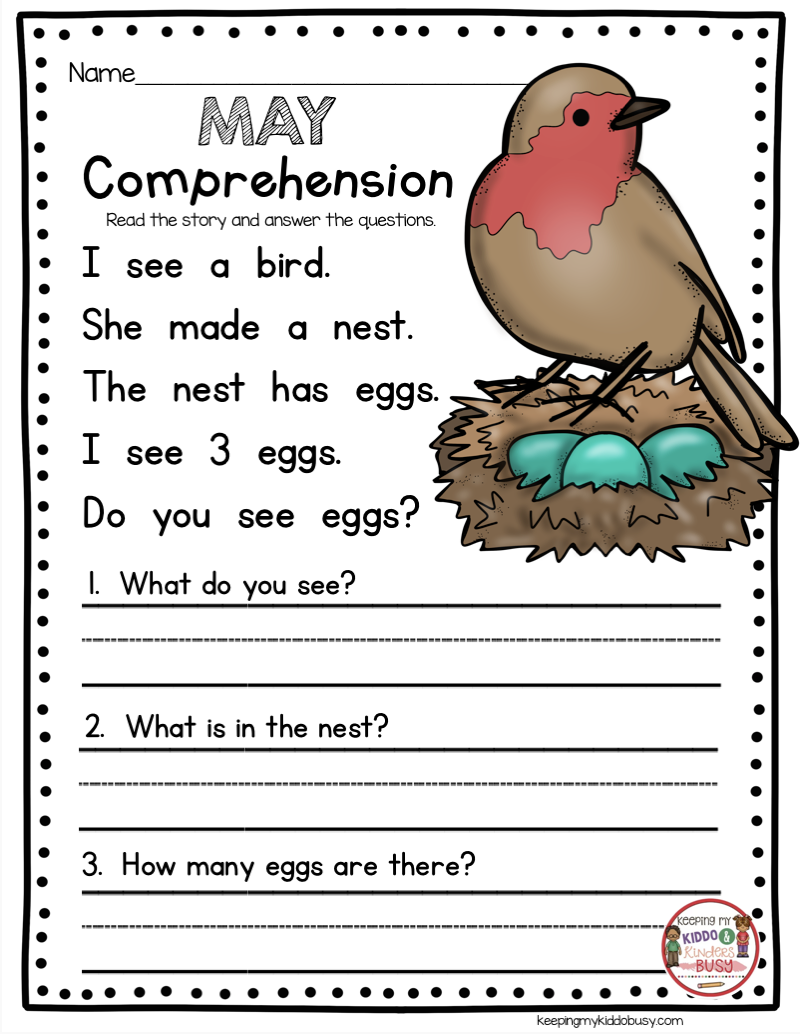 May In Kindergarten - Freebies | Montessori | Kindergarten Freebies