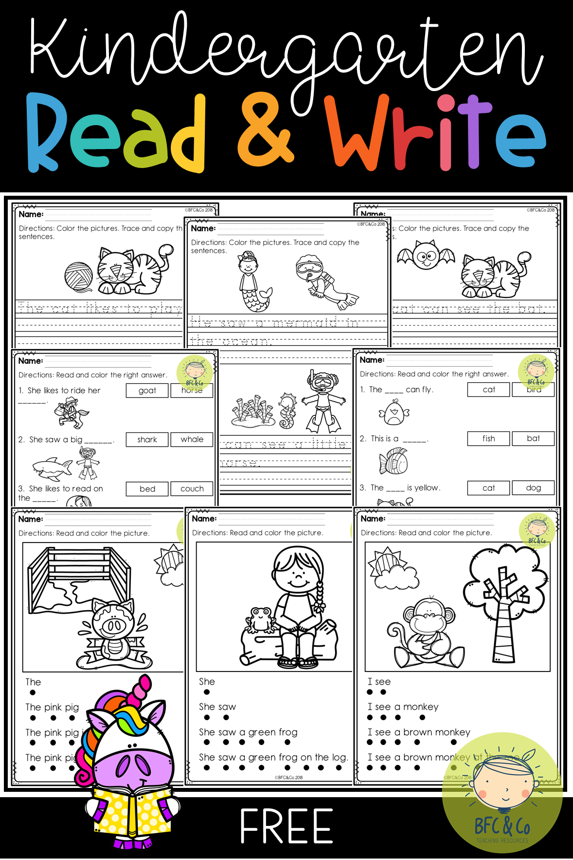 Kindergarten Read And Write Freebie | Teaching | Kindergarten