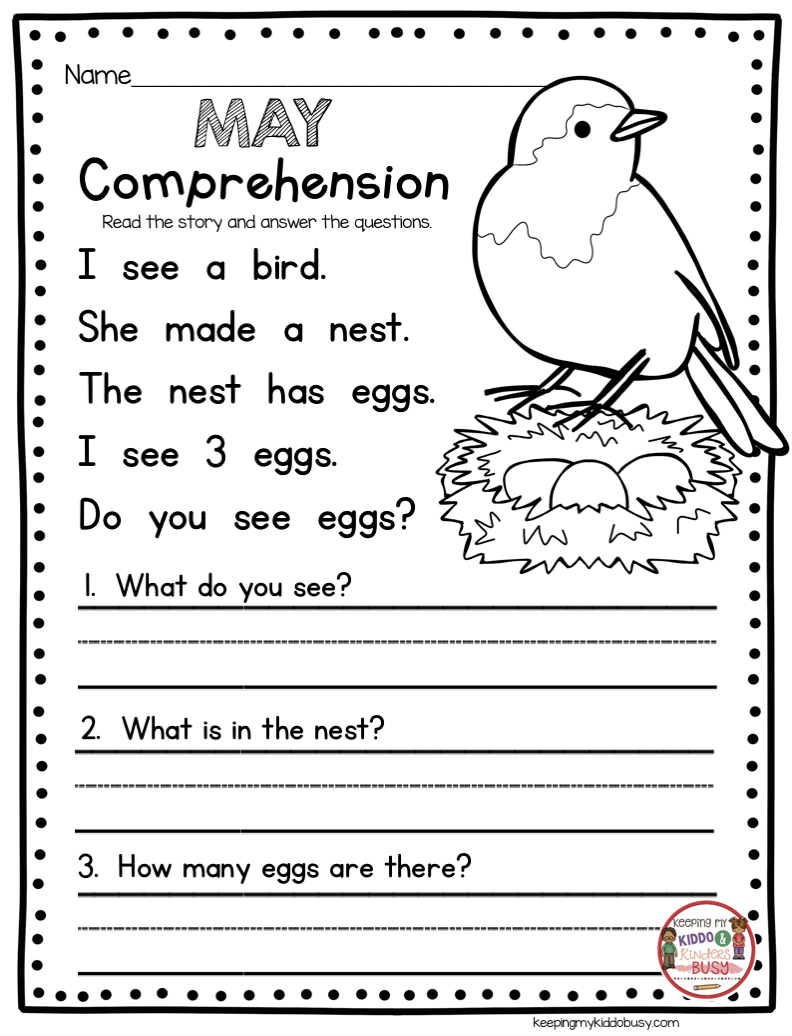 May In Kindergarten - Freebies | Reading | Kindergarten Freebies