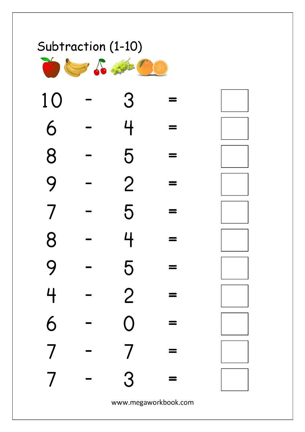 Math Worksheet - Subtraction (1-10) | Printables | Kindergarten Math