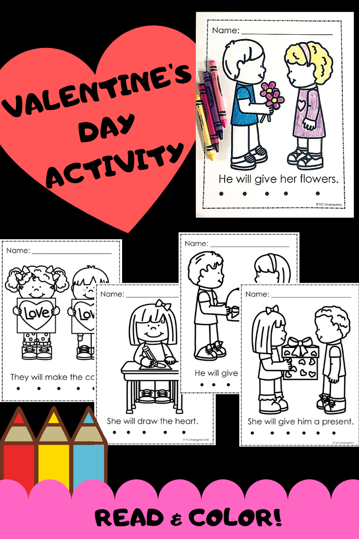 Valentine's Day Read And Color | February Kindergarten | Valentines