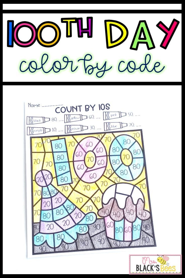 100th Day Of School Color By Code | Best Of Kindergarten | 100 Days