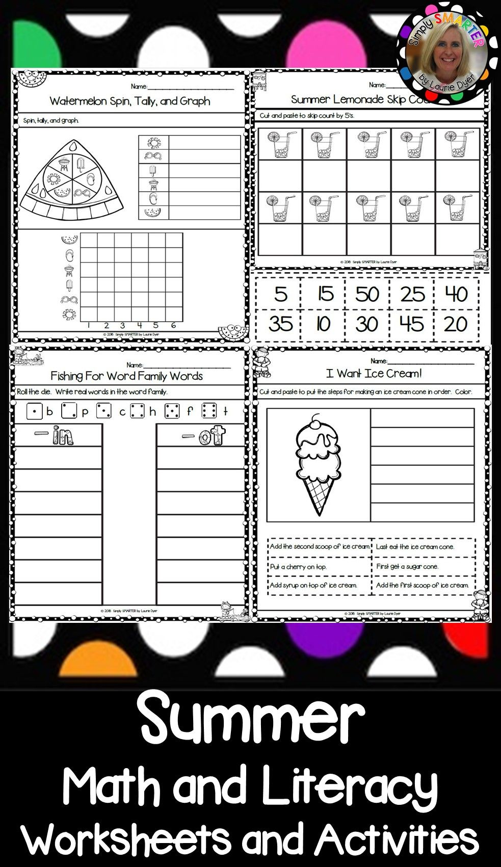 Summer Themed Kindergarten Math And Literacy Worksheets And