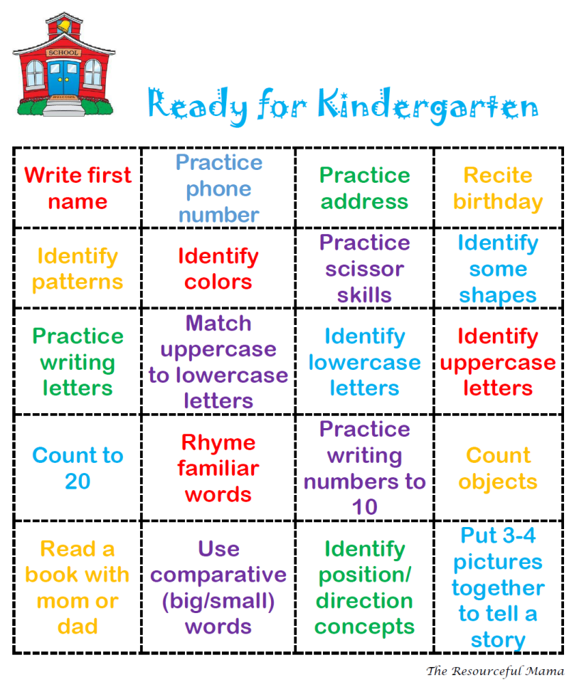 Ready For Kindergarten Bingo | Kids Stuff | Preschool Learning