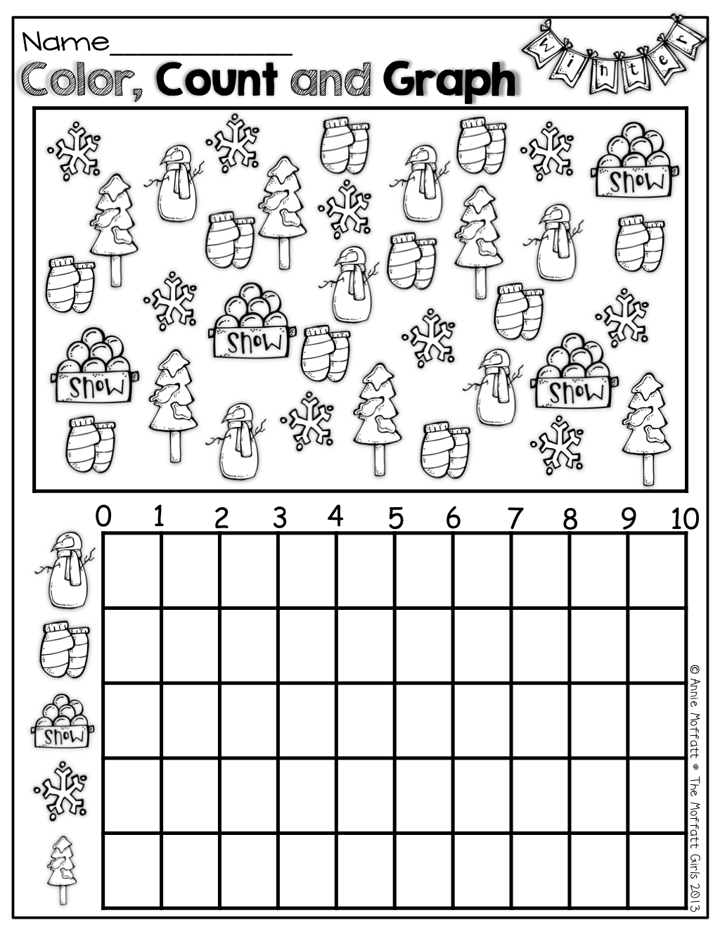 Color, Count And Graph For Winter   Math   Kindergarten Math