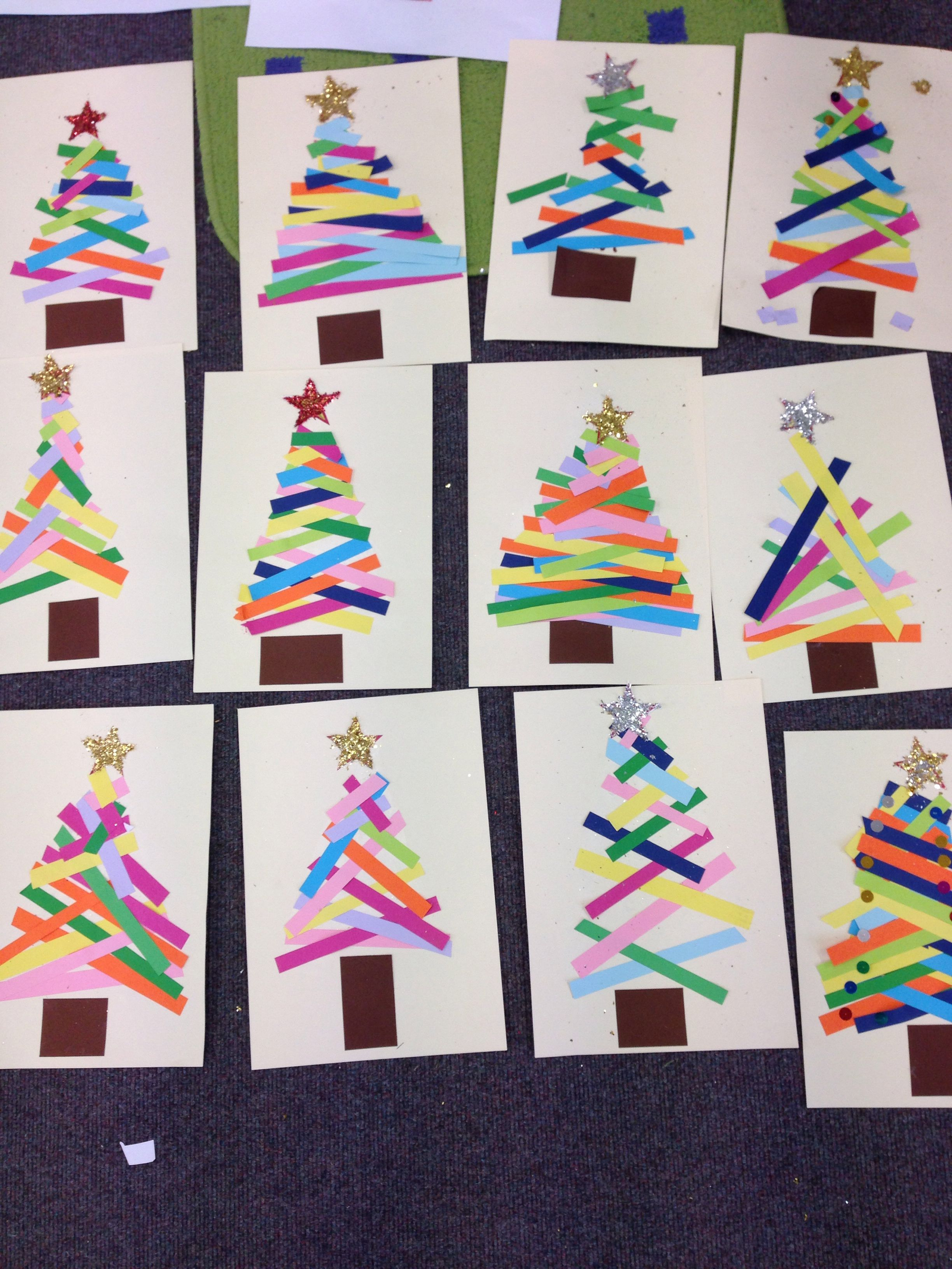 Kindergarten: Do This As A Center Christmas Tree Paper Strips