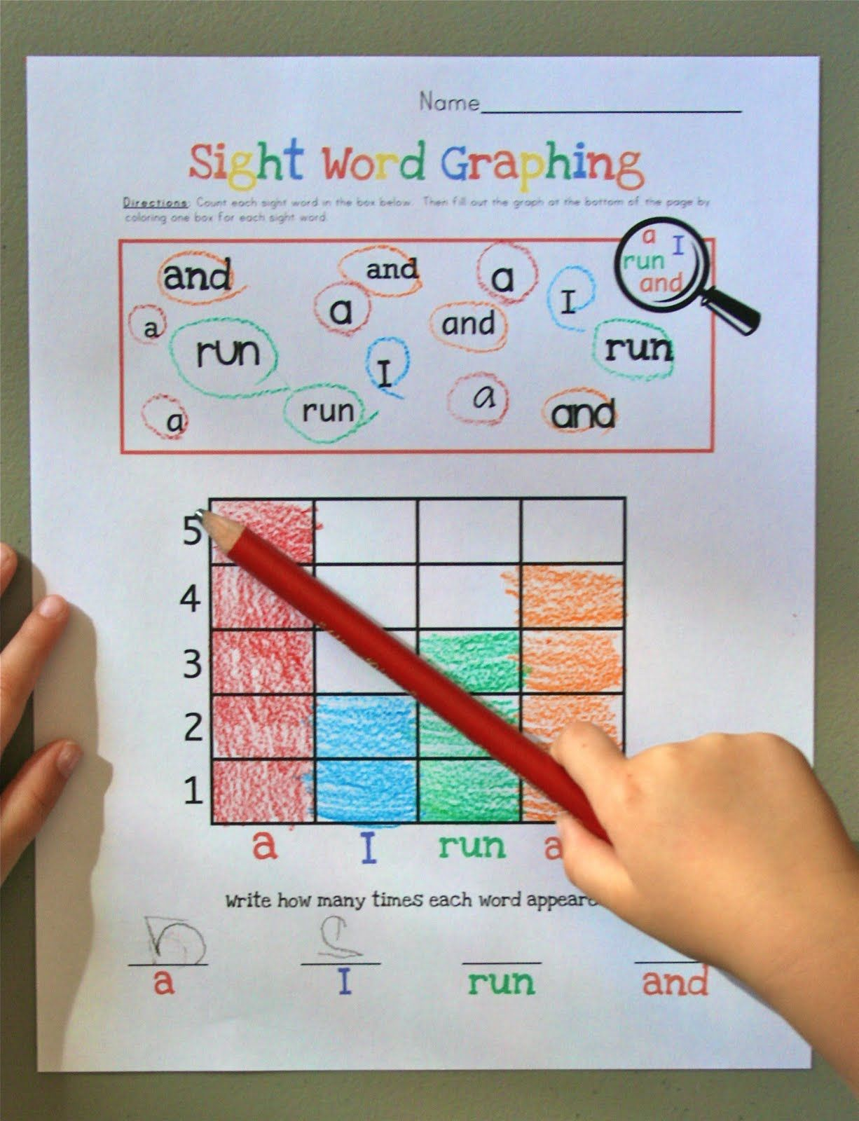 Idea-sight Word Graphing Make With Our Kindergarten Sight Words