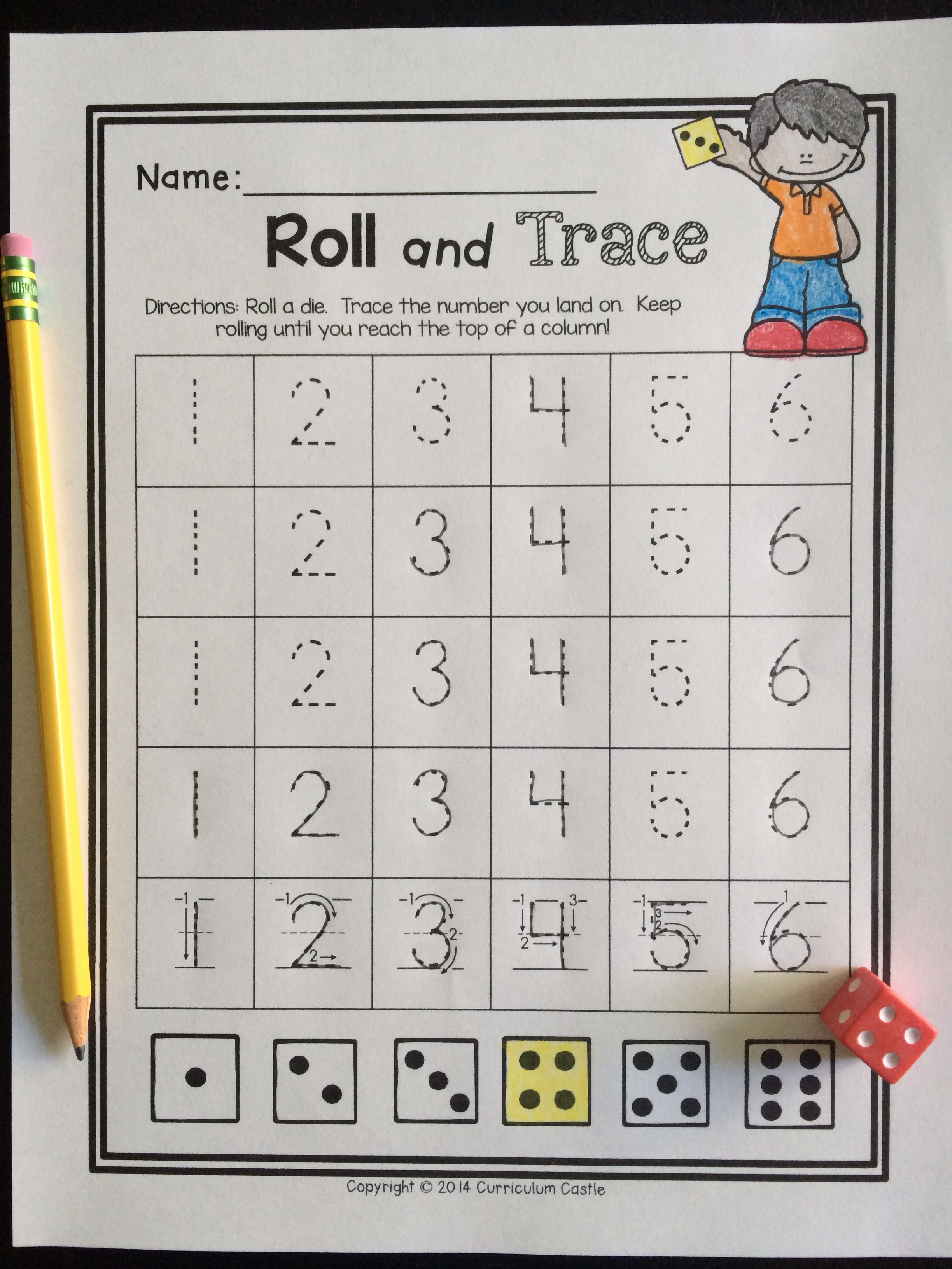 Back To School Kindergarten Math: Roll And Trace A Number! $ | Math