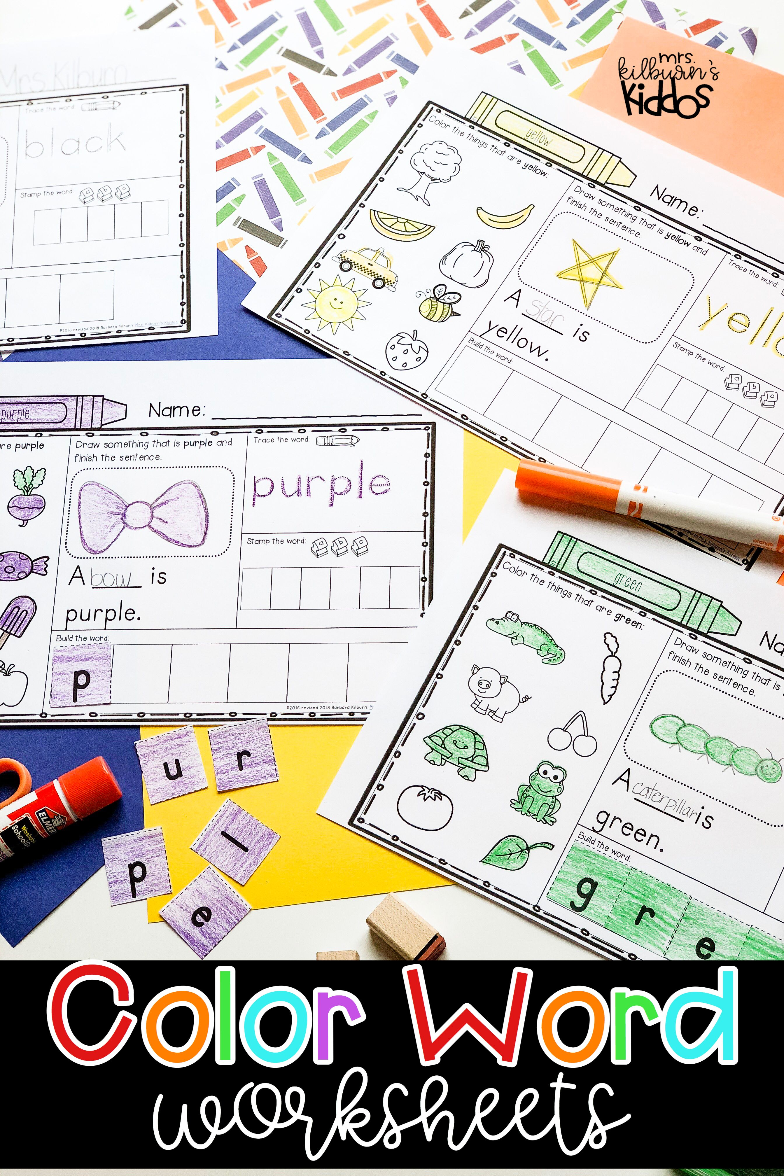 Color Word Worksheets | Hello Kindergarten | Kindergarten Colors