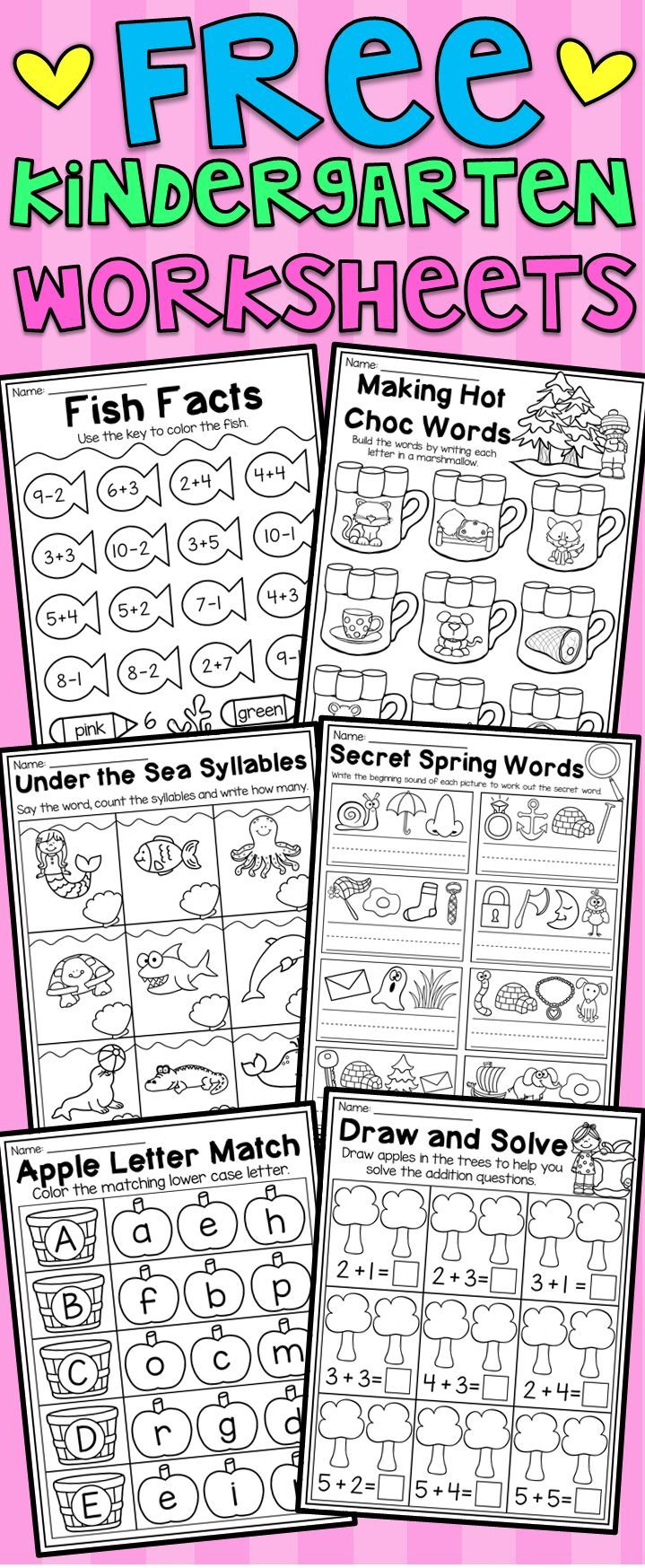 Free Kindergarten Seasonal Worksheets - Math And Literacy