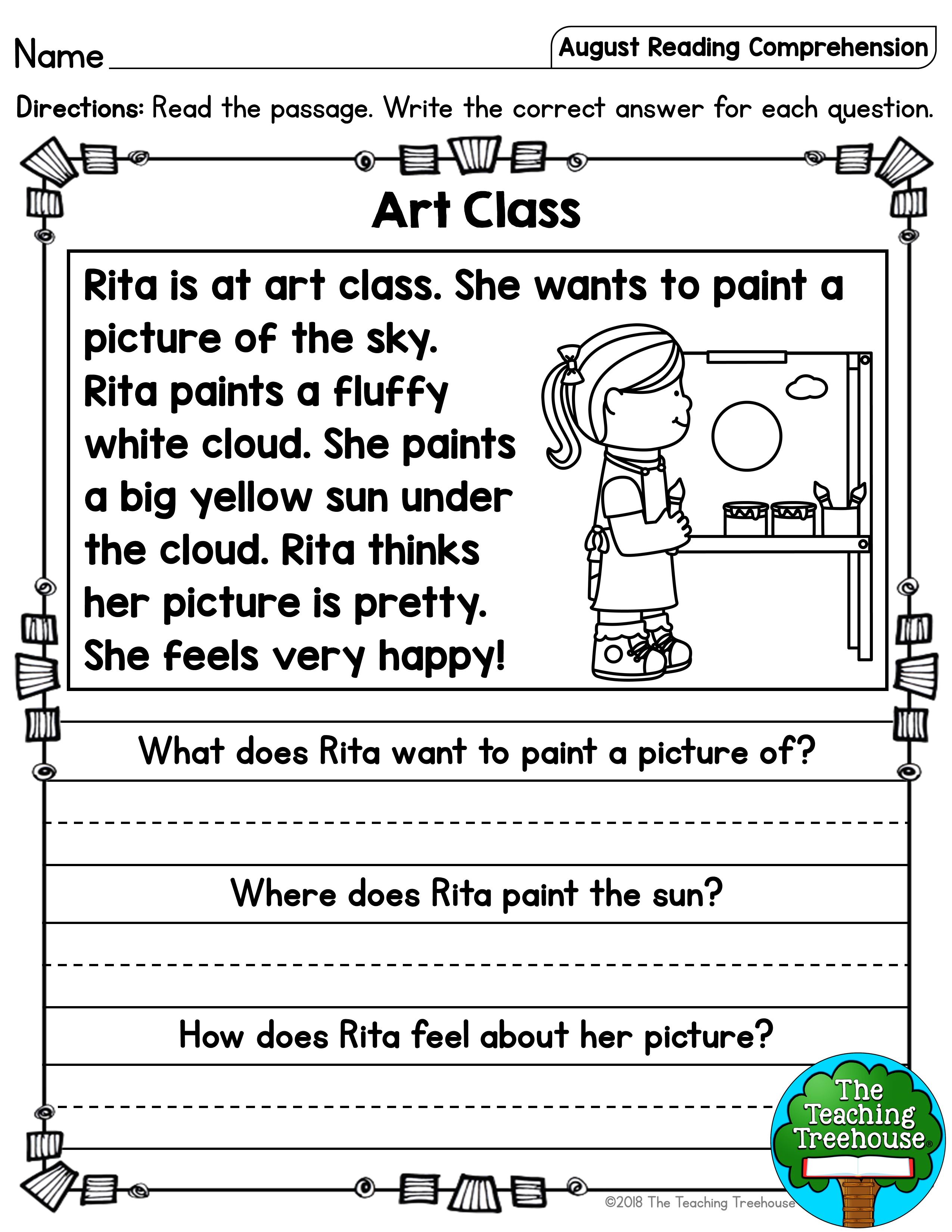 August Reading Comprehension Passages For Kindergarten And First