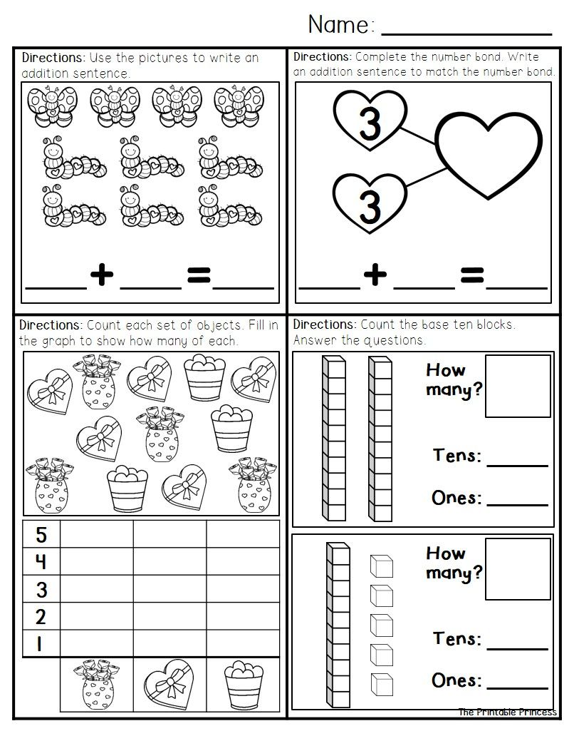 February Morning Work For Kindergarten | School | Kindergarten Math