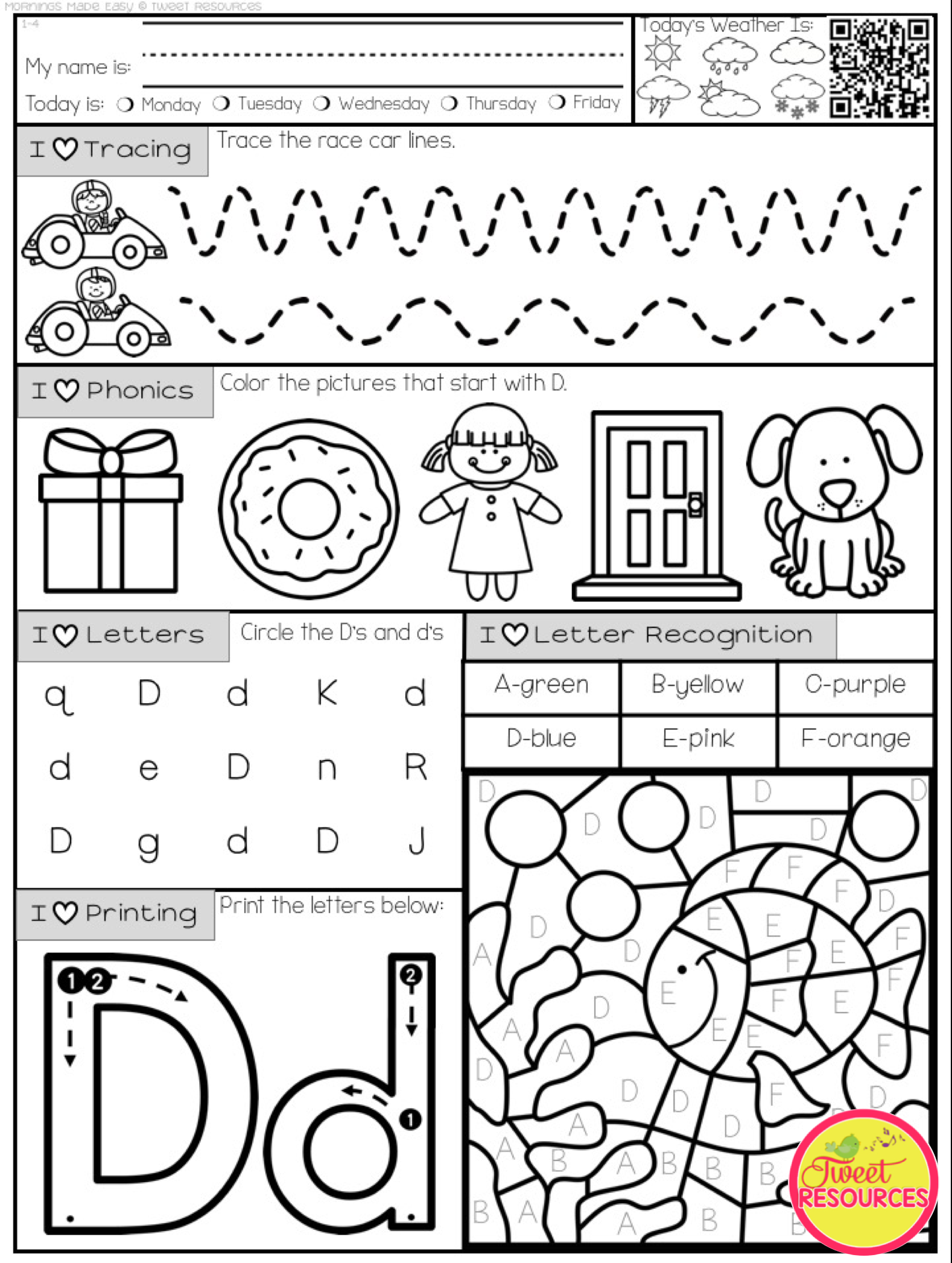 Mornings Made Easy! Kindergarten Morning Work By Tweet Resources Set