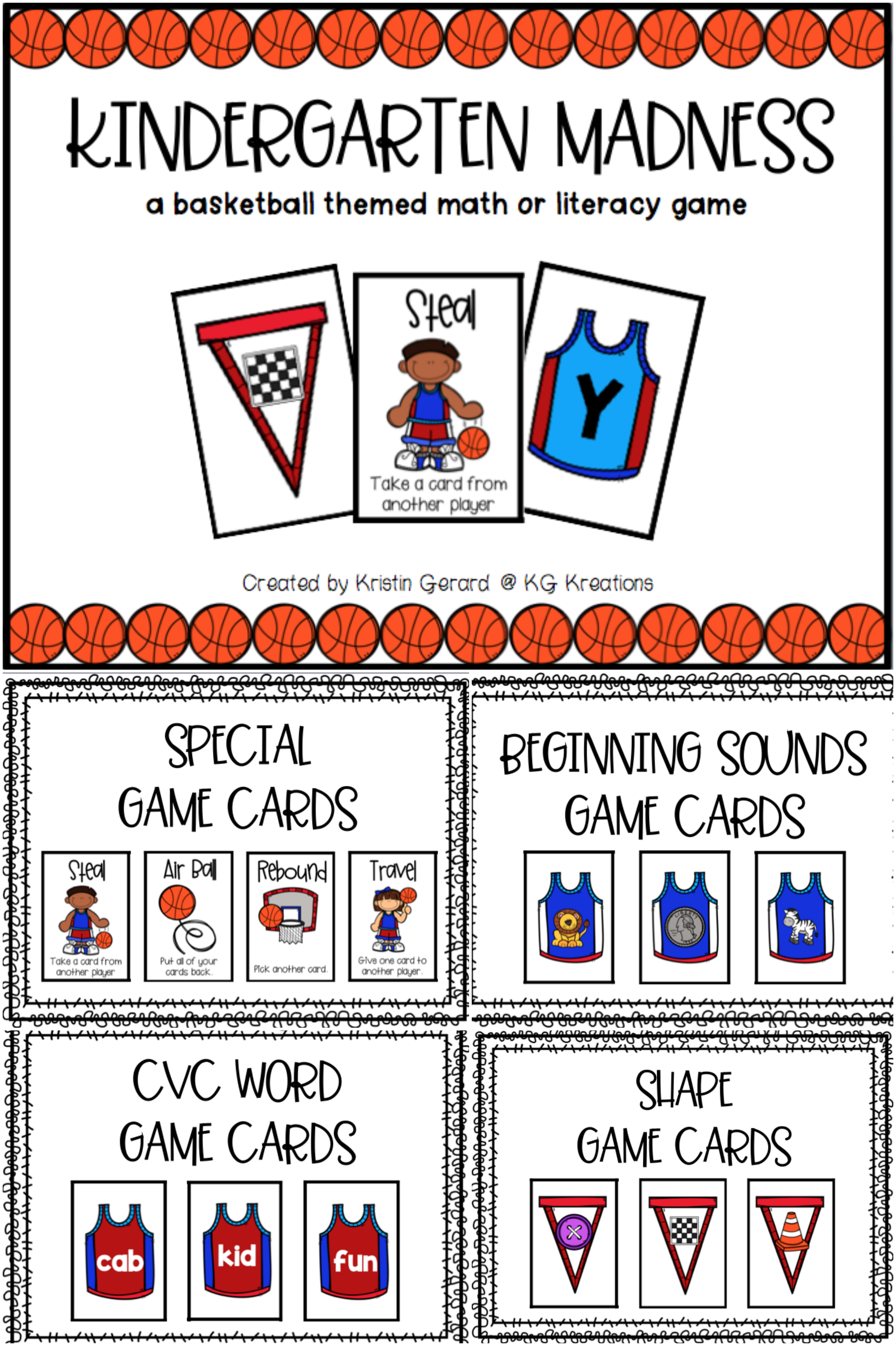 Reading Games For Kindergarten: March Madness | Tpt Resources