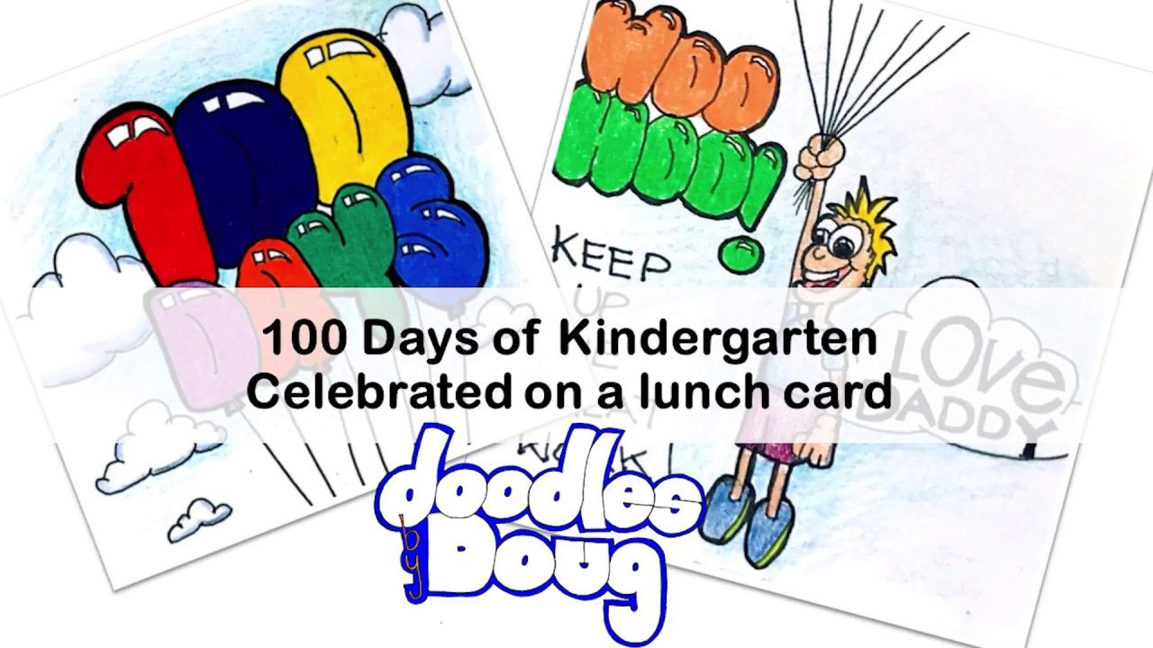 100 Days Of Kindergarten On A Lunch Box Card | Doodles By Doug In