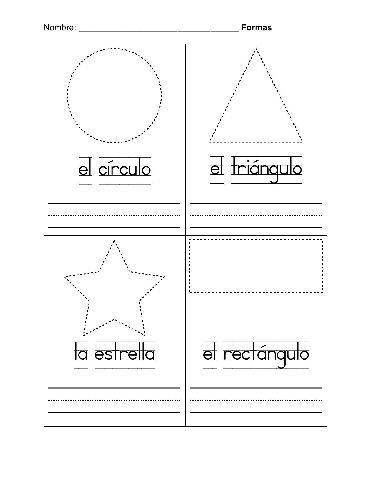 Spanish Worksheets For Kindergarten | Basic Shapes In Spanish