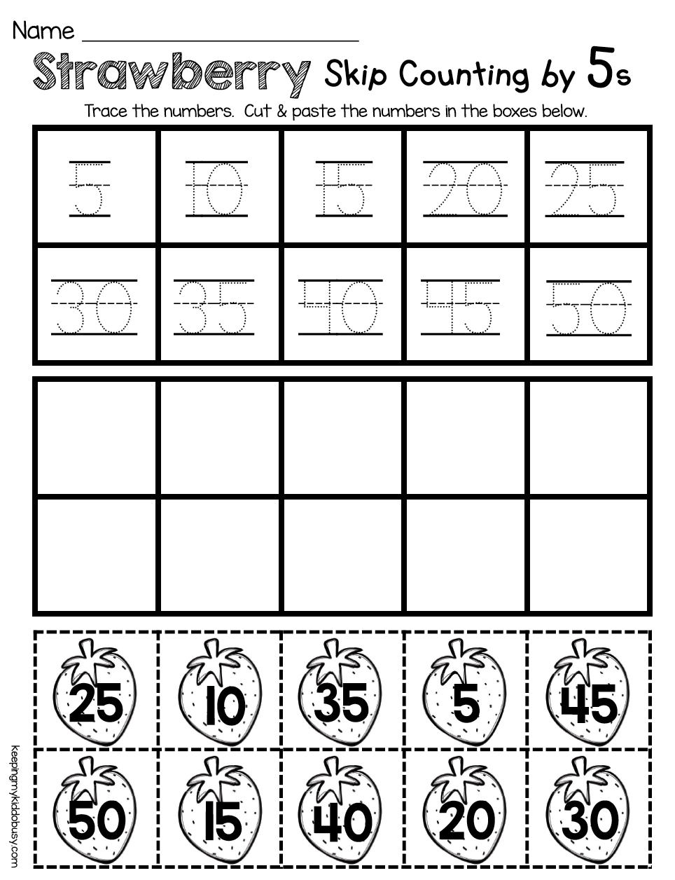 Kindergarten Counting By Fives - Math And Reading Worksheets For
