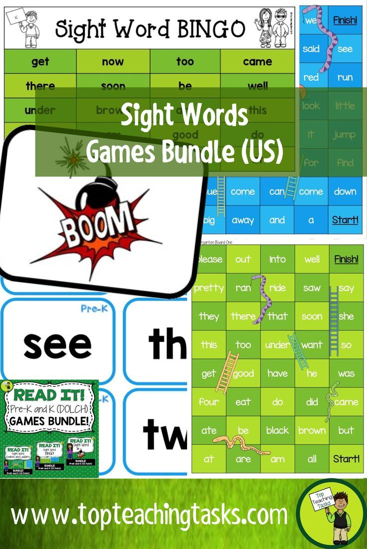 Pre-k And Kindergarten Sight Word Games Bundle Dolch | Dolch Sight