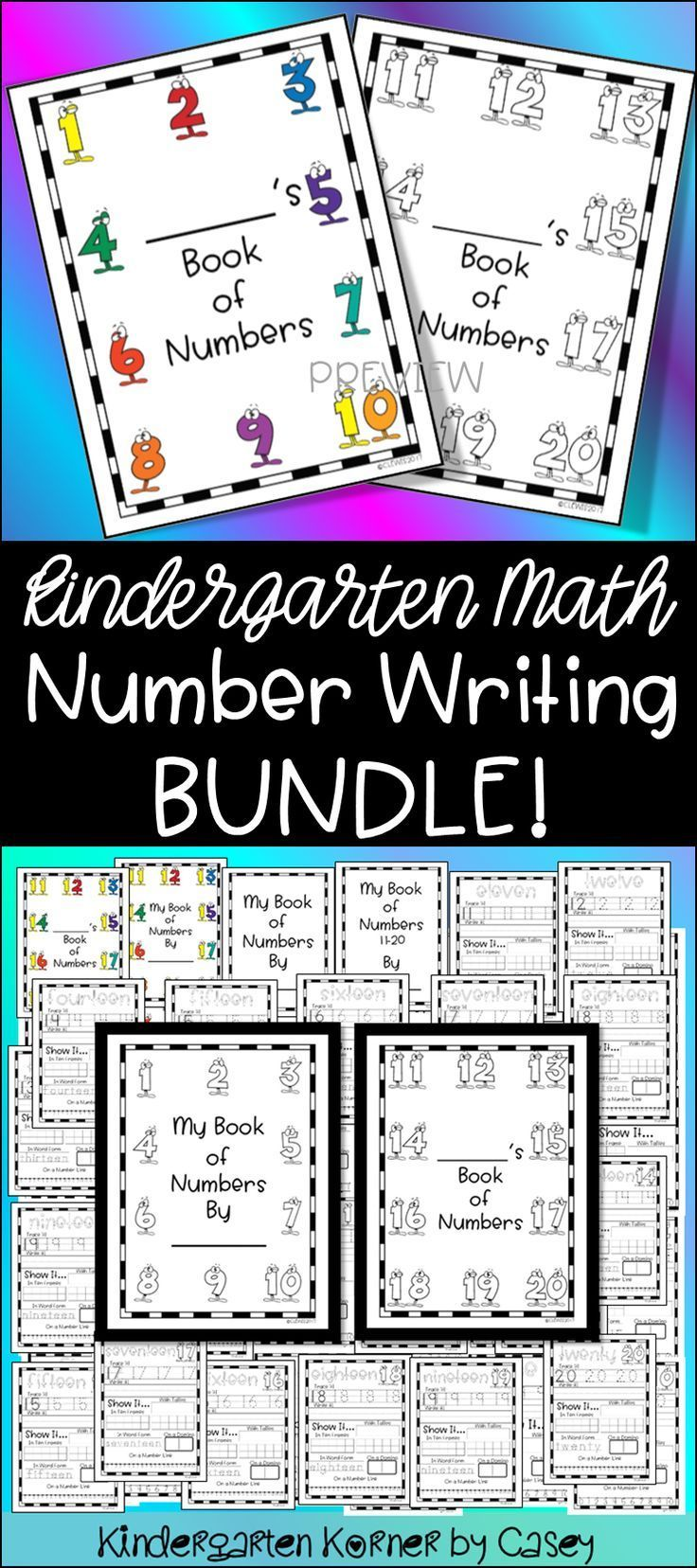 Number Writing Book Bundle 1 To 20 Kindergarten Math Number Sense