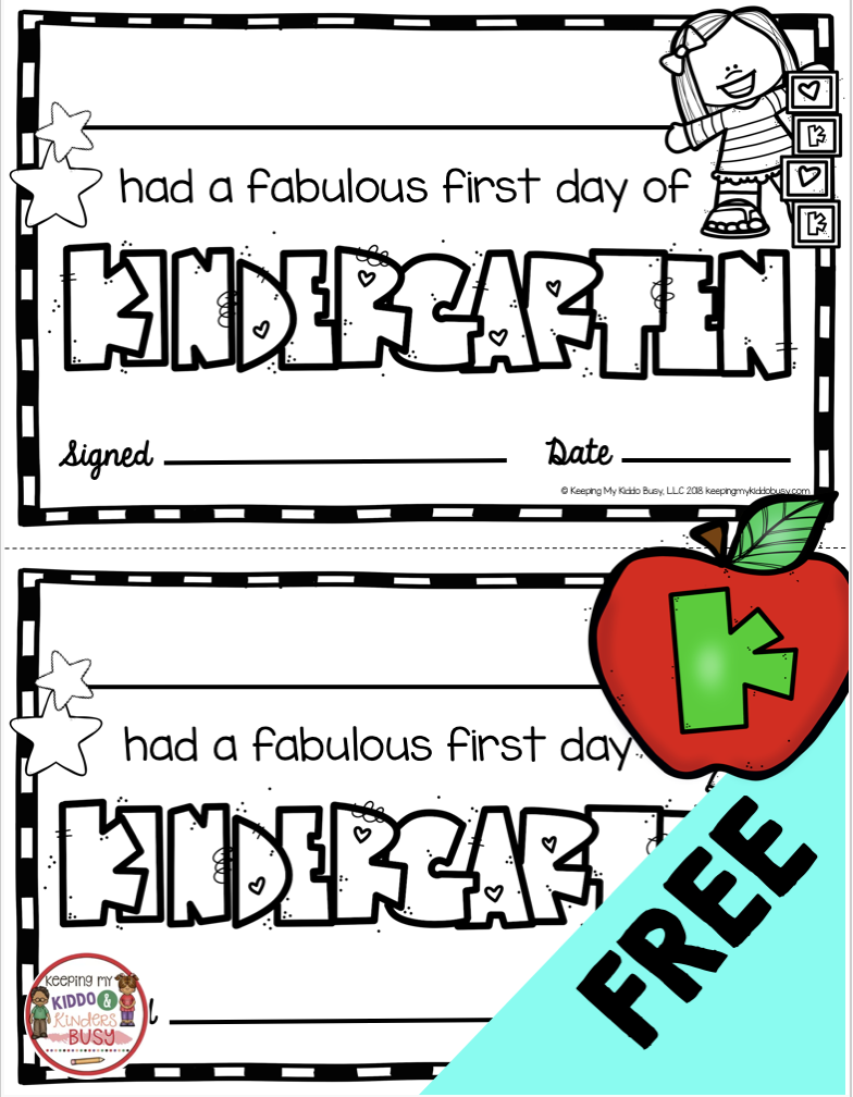 Free First Day Of Kindergarten Certificates - Student Awards For