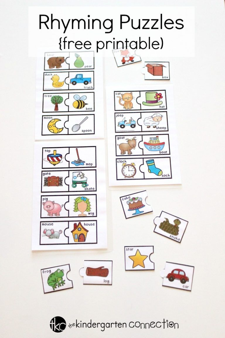 Rhyming Puzzles | Centres | Kindergarten Literacy, Rhyming Words