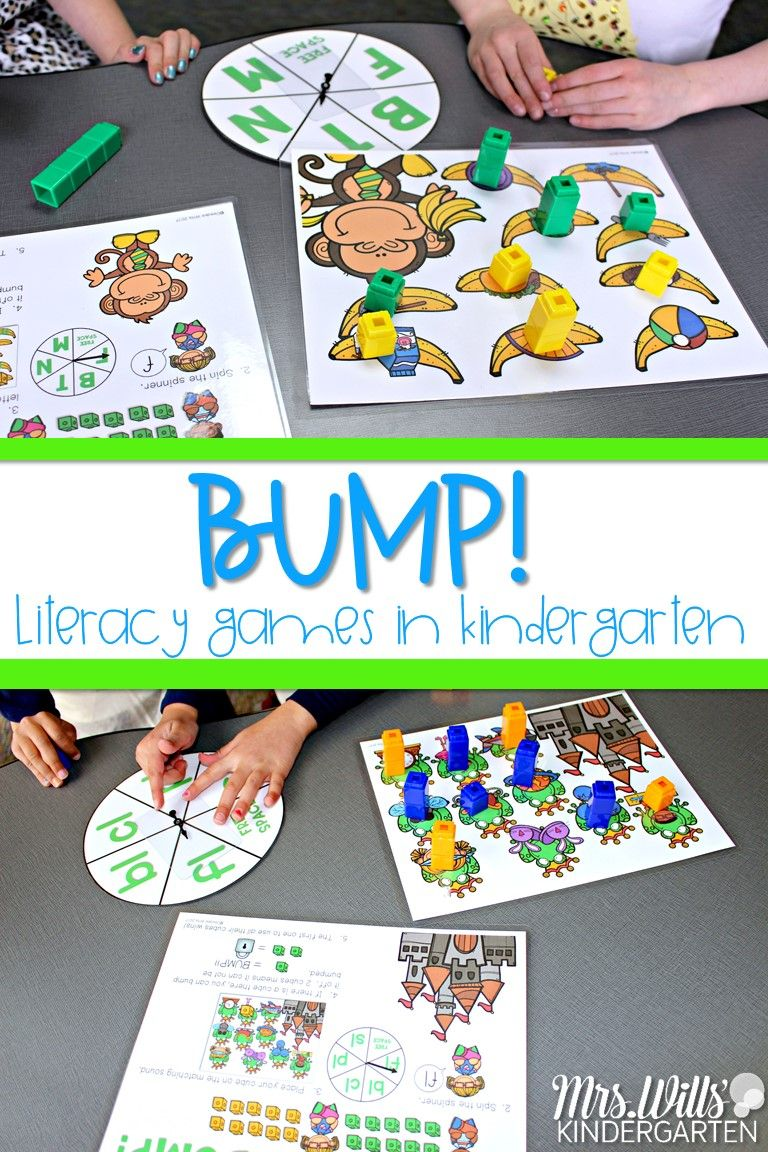 Bump Games | Literacy Stations | Kindergarten Classroom Games