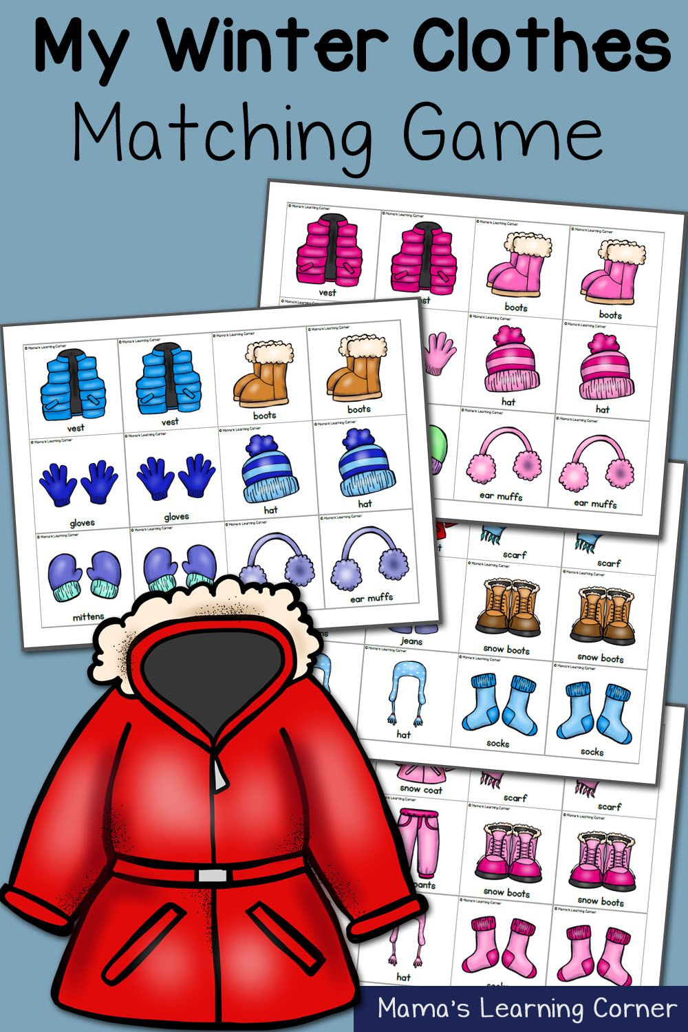 My Winter Clothes: Match Game | Kindergarten-winter | Winter Outfits