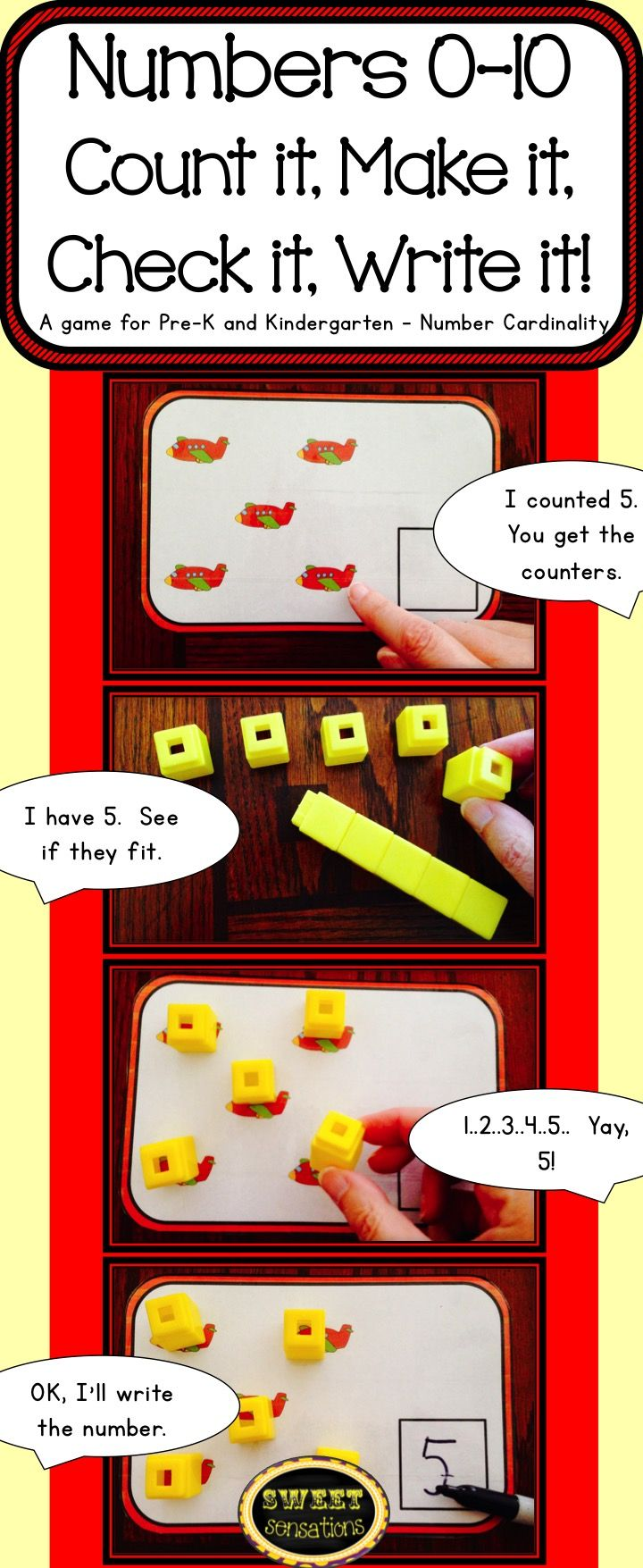 Numbers 0-10 Counting Game Math Station For Pre-k And Kindergarten
