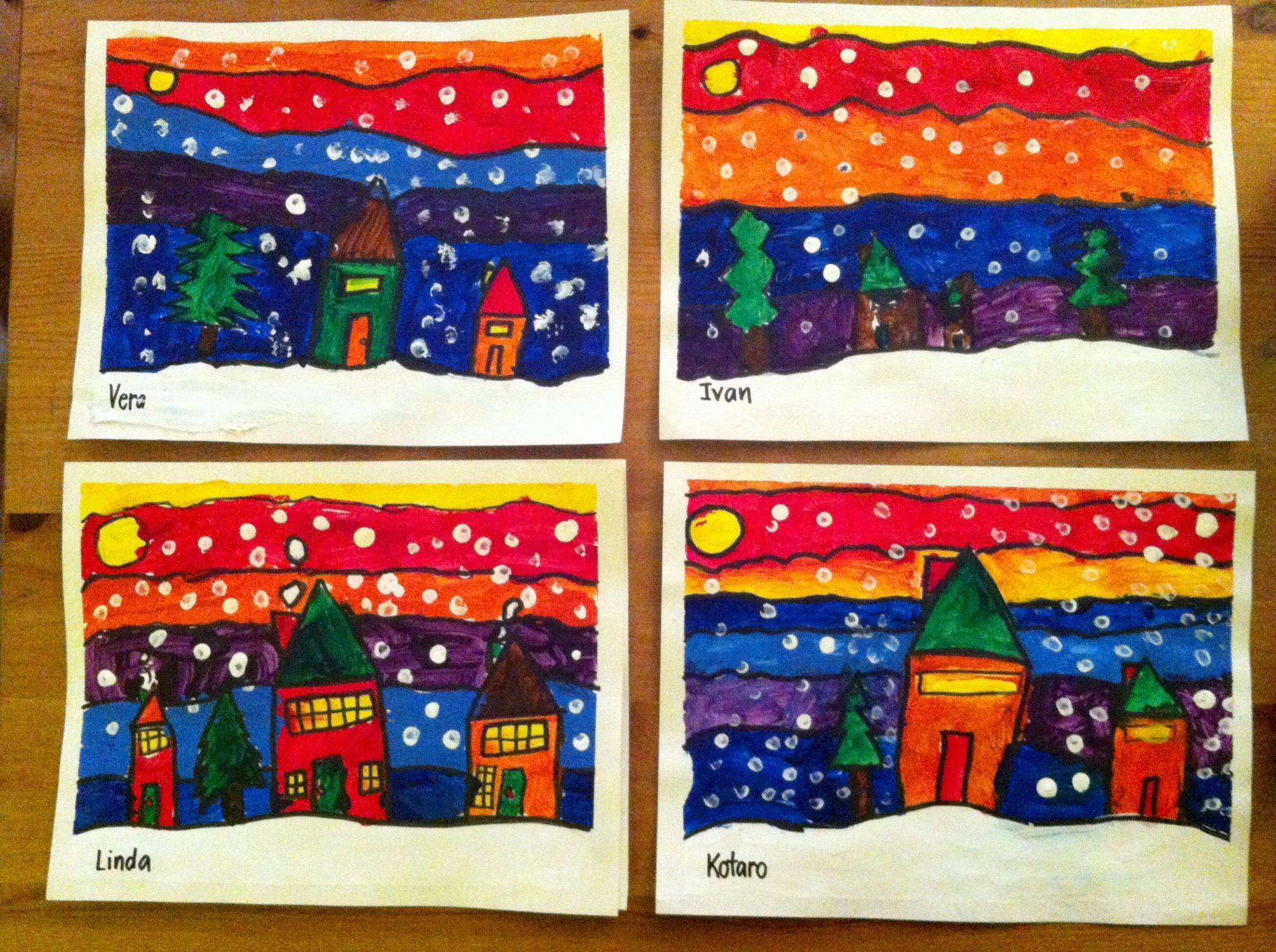 Kindergarten And Grade 1 Art In The Style Of Ted Harrison A 6-step