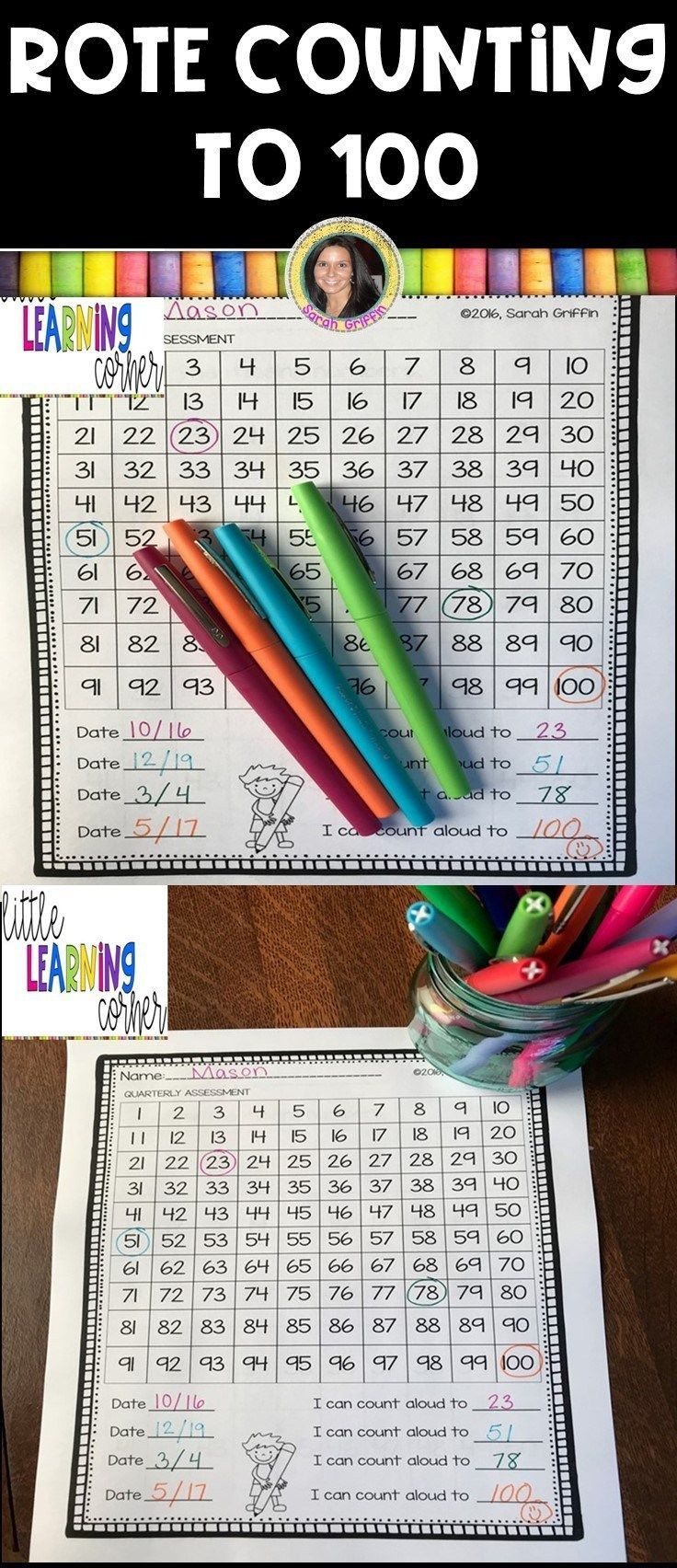 100's Chart For Rote Counting In Kindergarten | Kindergarten Themes
