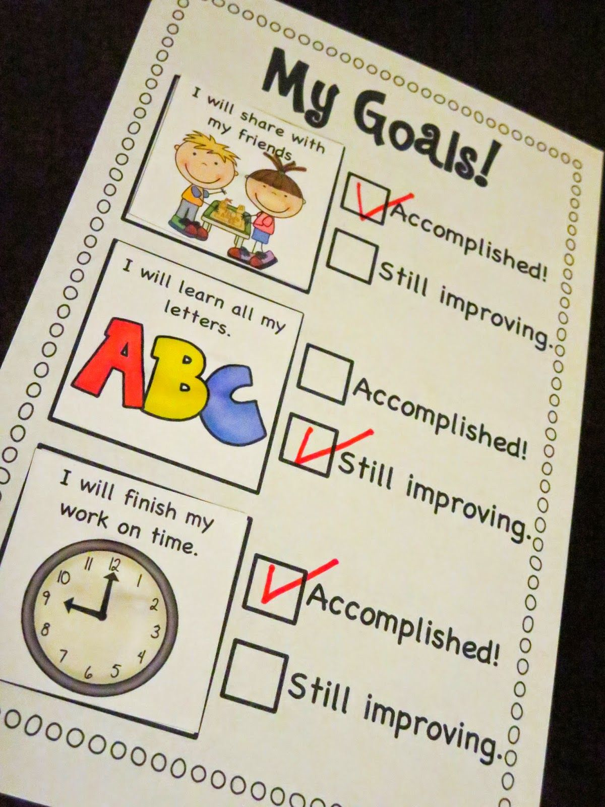 Goal Setting Checklist Freebie! (mrs Ricca's Kindergarten