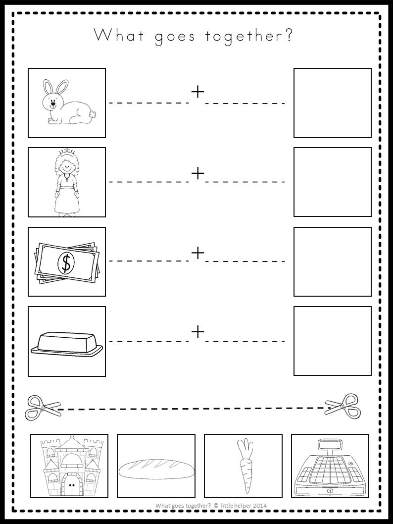 Kindergarten Cut And Paste Activity What Goes Together? | School