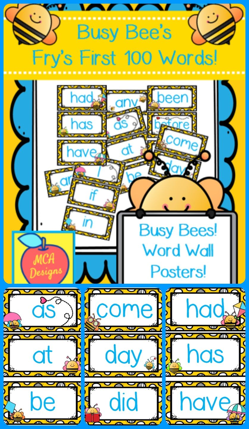 Busy Bees Fry's First 100 Words | Kindergarten | Reading Resources