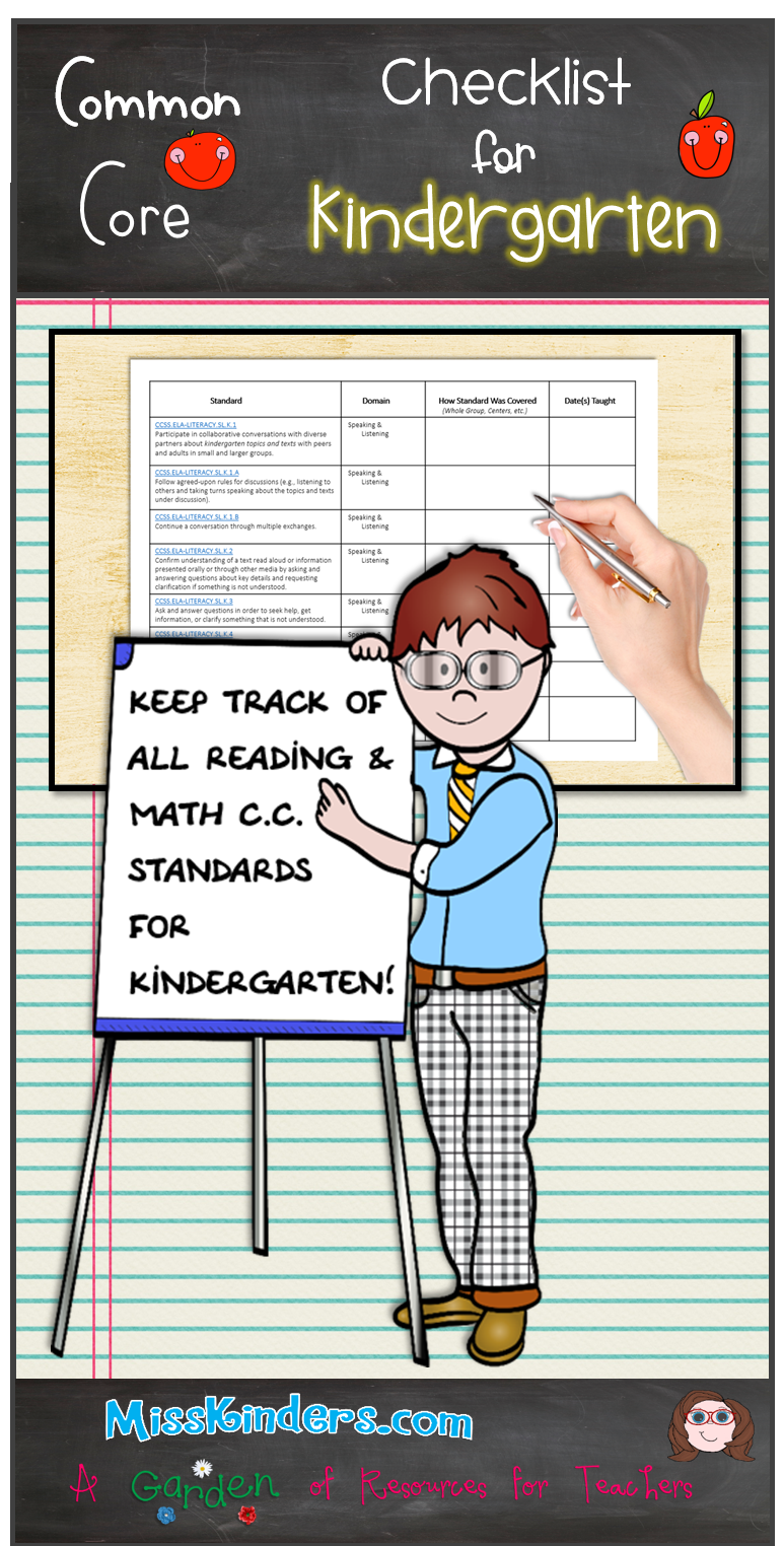 Common Core Checklist For Kindergarten | Awesome K-5